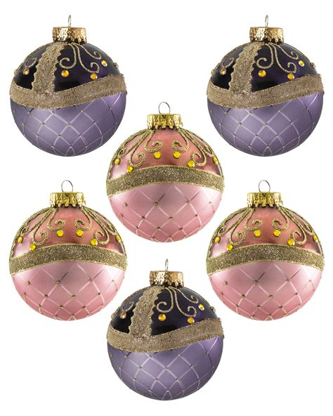 milady pink and plum glass unique christmas ornaments