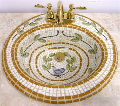 mosaic bathroom sink buy leafy vine and bluebird mosaic sink try handmade