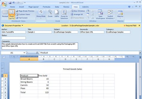 sle of xlsx file using excelpackage to create excel 2007 files on the server