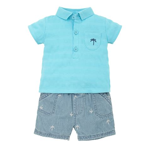 Mothercare Set For Baby Boy 4 mothercare baby newborn boy s palm tree polo shirt and denim shorts set ebay