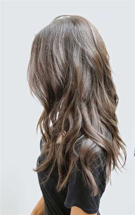 extreme medium choppy hair dark ash brown hair with long waves and layers long wavy