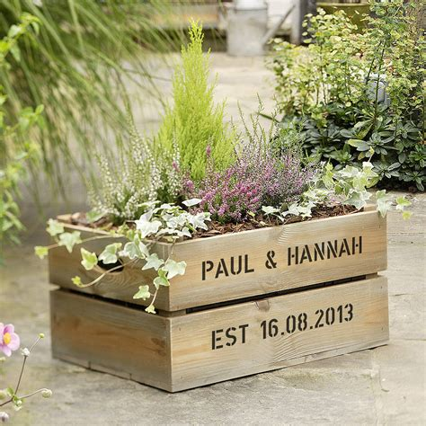 Wooden Crate Planter by Original Personalised Wooden Planter Jpg