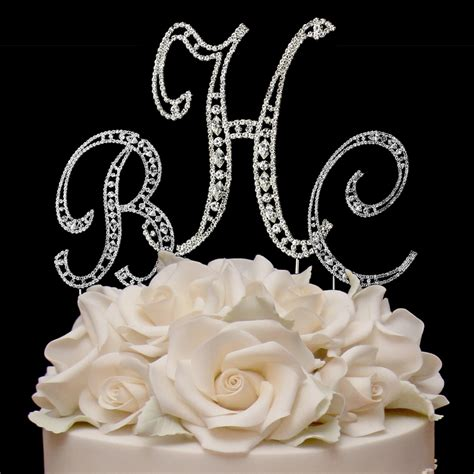 Wedding Cake Letter Toppers by Vintage Elegance Rhinestone Monogram Cake Toppers