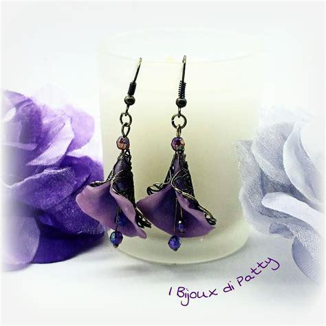 orecchini fiori orecchini con fiori viola gioielli orecchini di i