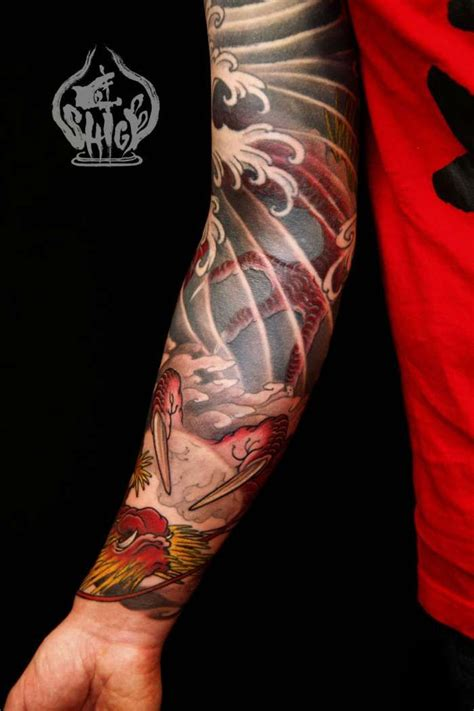 water sleeve tattoo wind water work again shige japanese