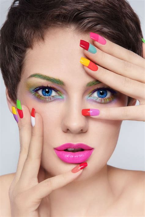 colorful acrylic nails best 25 colored acrylic nails ideas on