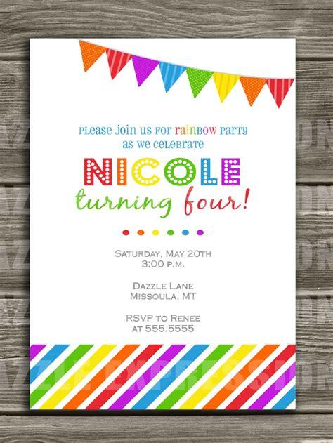 free printable invitation rainbow invitation rainbow 2nd birthday party rainbow pinterest