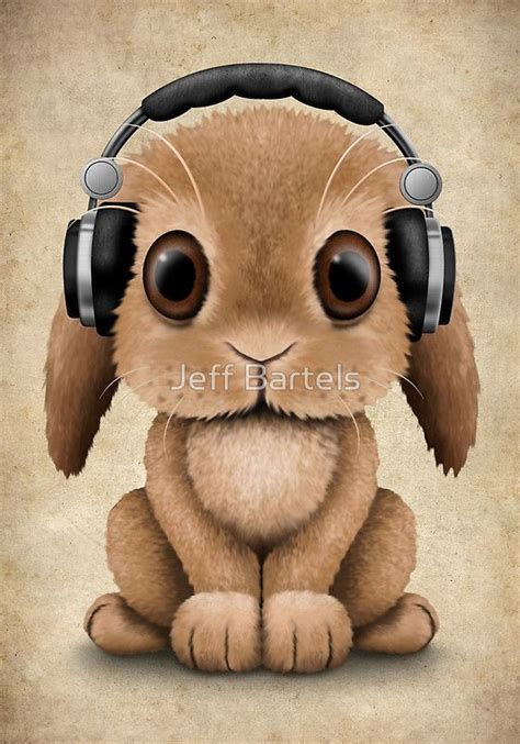 Rabbit Earphone With baby bunny dj wearing headphones jeff bartels