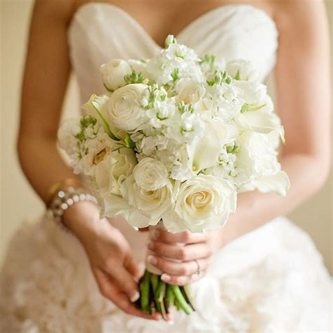 All Wedding Flowers by All White And Ranunculus Bouquet Brides