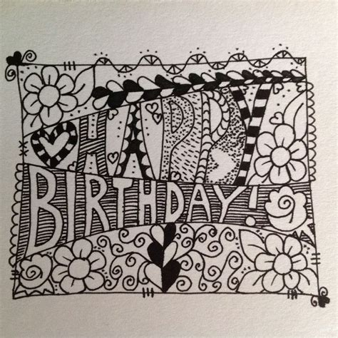 doodle happy birthday happy birthday zentangle doodle lets draw