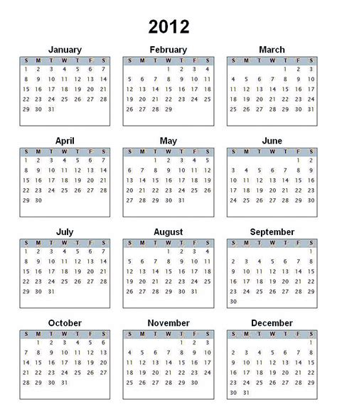 templates free 2012 2012 calendar