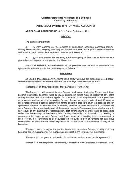 contract partnership agreement template 40 free partnership agreement templates business