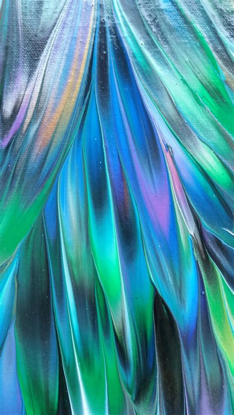 peacock iii colorful abstract blue green violet painting