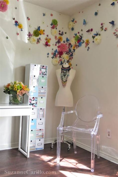 Butterfly Office Decor by Butterfly Floral Wall Treatment Home Office Decor Ideas