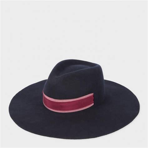 paul smith s navy wool felt fedora hat in blue lyst