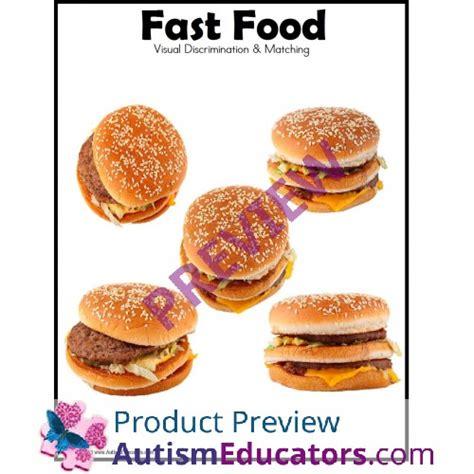 file folder fast food visual discrimination and