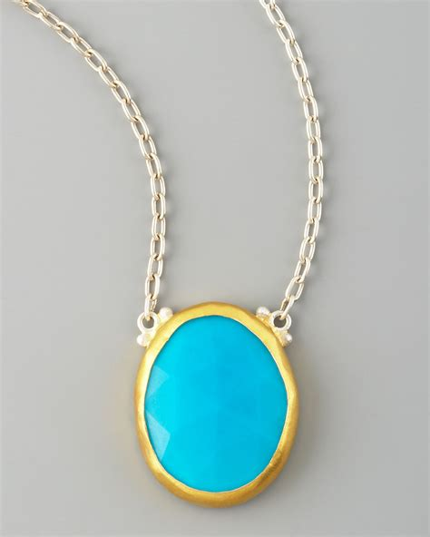 Turquoise Pendant Necklace lyst gurhan turquoise pendant necklace in blue