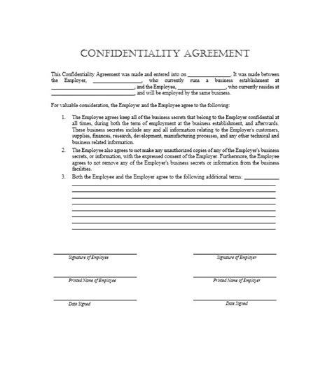 staff establishment template 40 non disclosure agreement templates sles forms
