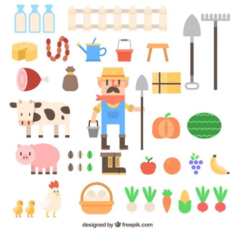 farm layout design software free download farmer with farm accessory collection in flat design