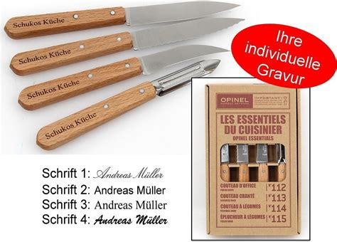 opinel engraving opinel kitchen knife set 4 stainless steel with