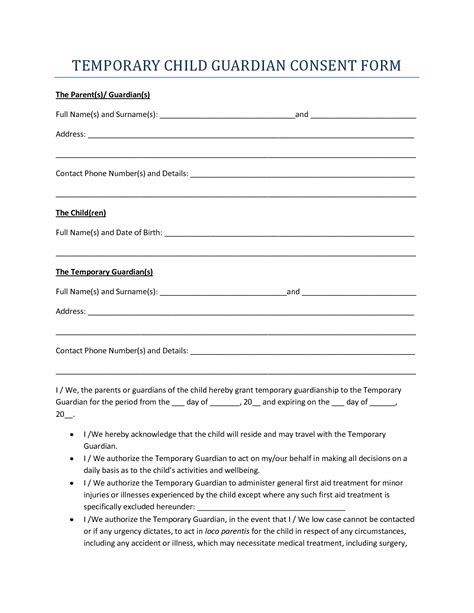 authorization letter of guardian best photos of temporary guardianship form for minor