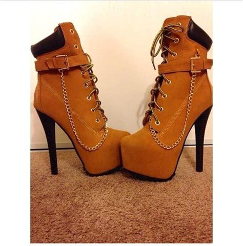 shoes platform shoes high heels timberlands timber