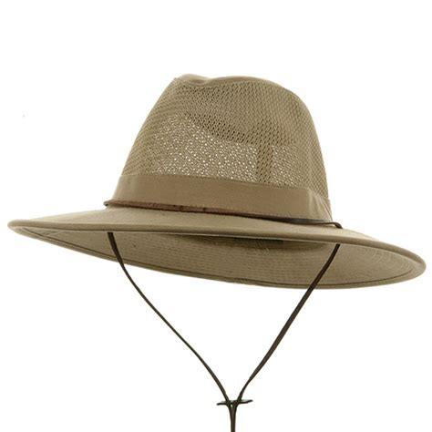 Camel Brushed Twill Mesh Safari Hats: Safari, Gambler Hat