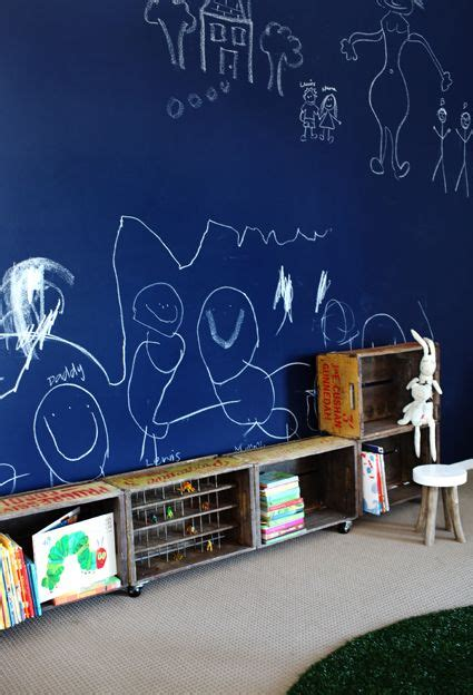 chalk paint for walls blue chalkboard wall crate shelving rooms