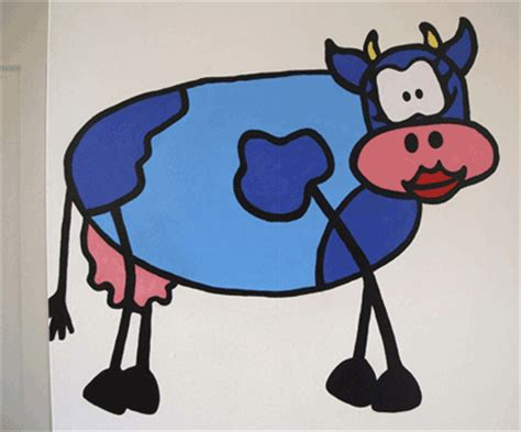 the blue cow murals