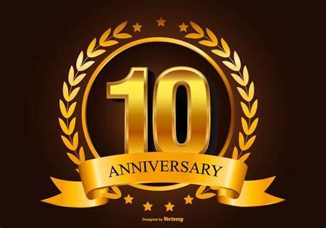 Golden 10th Anniversary Illustration   Download Free