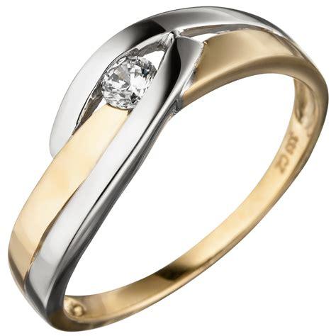bicolor ring ring damenring mit zirkonia wei 223 333 gold gelbgold