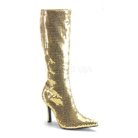 gold sequin pointed toe knee high boots boots catalog