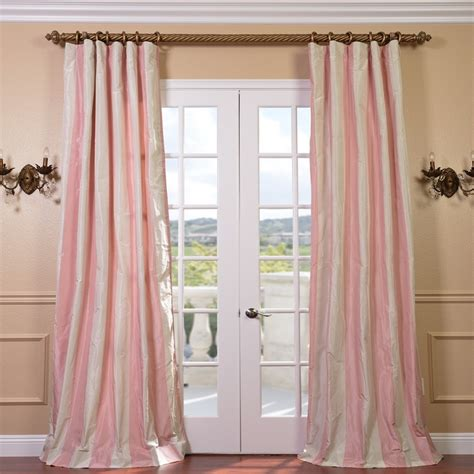 stripe curtain panel light pink cream stripe faux silk taffeta 96 inch curtain