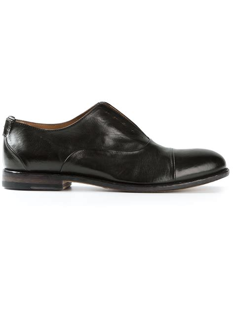 oxford shoes black lyst pantanetti laceless oxford shoe in black for