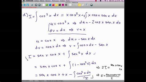 derivada de coseno cuadrado integral de coseno cuadrado youtube