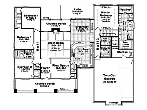 craftsman style house plan 4 beds 2 50 baths 2400 sq ft