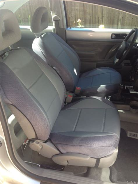 1998 volkswagen beetle car seat covers mix leatherette synthetic two front custom gray car seat