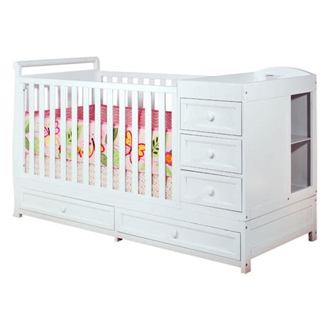 Crib With Changing Table And Drawers Convertible 3 1 Crib With Changing Table Equipped With Three Drawers And Two Unit Shelves