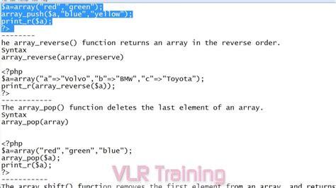 php tutorial video in telugu php 5 array functions in telugu 22 vlr training youtube