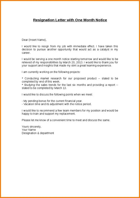 Resignation Letter Format Notice Period Resignation Letter One Month Notice Period Resignation