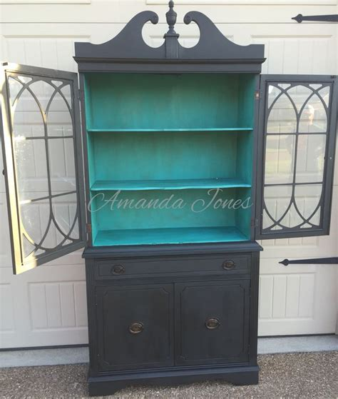chalk paint old china cabinet antique china cabinet painted graphite chalk paint with