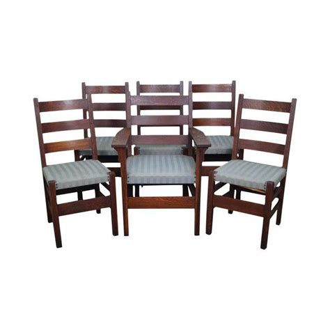 Mission Oak Dining Chairs Gustav Stickley Antique Mission Oak Set Of 6 Dining Chairs Chairish