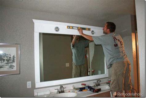 remodelaholic framing  large bathroom mirror