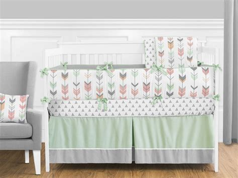 Gray And Coral Crib Bedding Mod Arrow Gray Coral Mint Crib Bedding Set By Sweet Jojo Designs 9 Blanket Warehouse