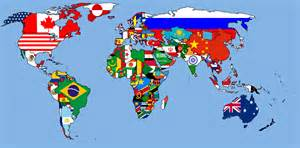 World Map Flags by World Map With Flags For Country Colours 1680x1050