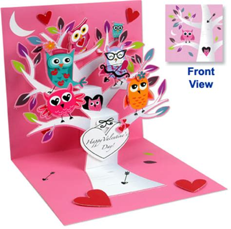 Owl Pop Up Card Template by Pop Up Treasures Greeting Card Valentine Owls Ps1042 Lg