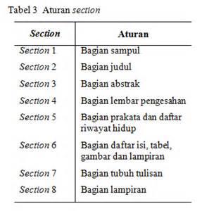 aturan format skripsi penggunaan section pada sistem saul mclimbong blog