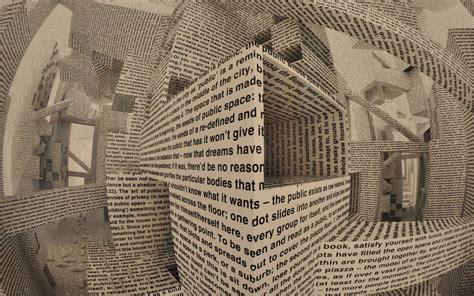 Abstract Newspaper Wallpaper   abstract 3d cg digital art manipulation paper words