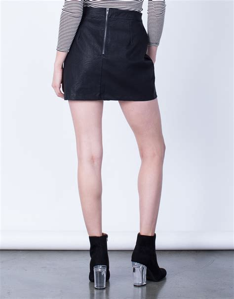 side lace up leather skirt leather lace up skirt black
