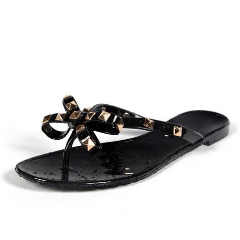 Flat Bowtie Merah 4 2017 fashion flip flops summer shoes cool rivets big bow flat sandals brand